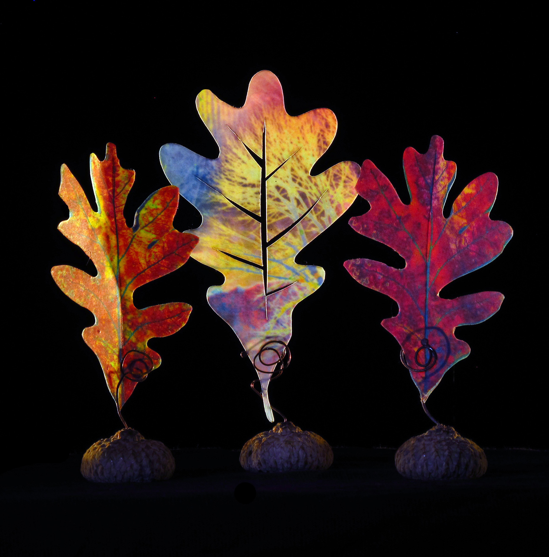 Make encaustigraphic oak leaves like these in my upcoming intro class.